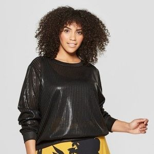WHO WHAT WEAR BLACK METALLIC LONG SLEEVE TOP